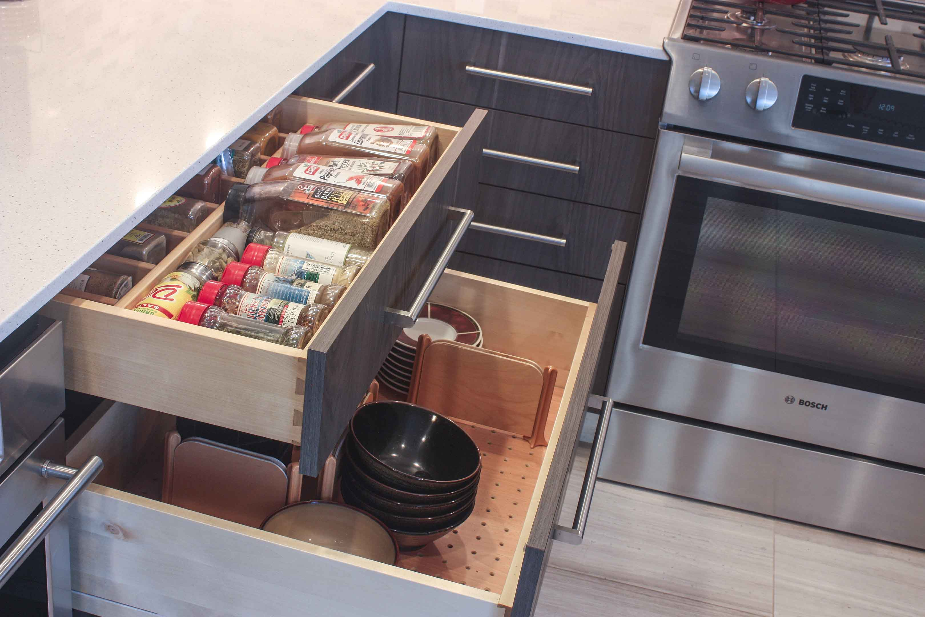 detail spice drawer and utility drawer joan bigg kitchen choreography contemporary kitchen design westchester county ny
