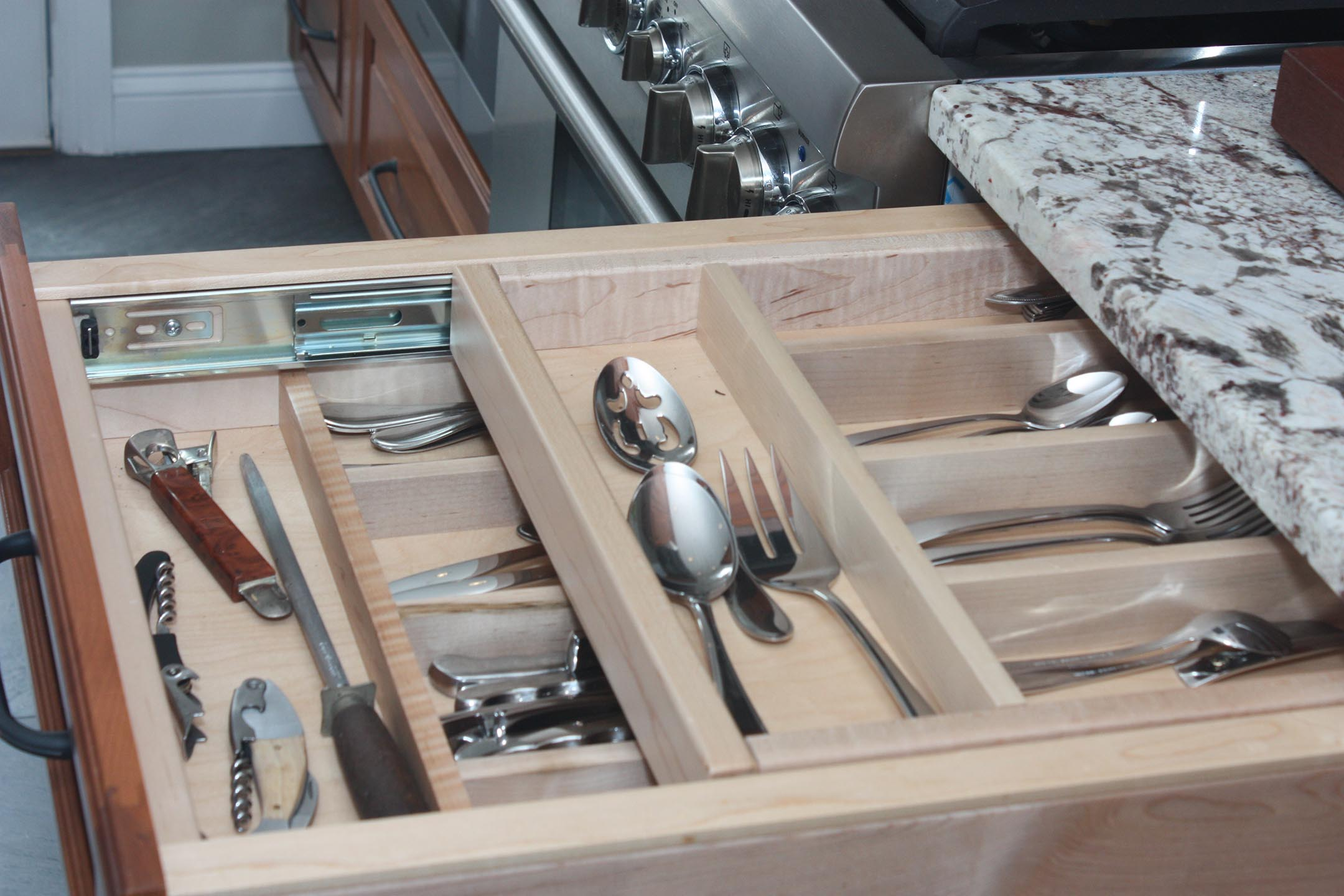 Kountry Kraft Cabinetry flatware drawer by Joan Bigg kitchen design authorized dealer westchester county ny
